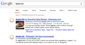Google - Rich Snippet door Structured Data voorbeeld